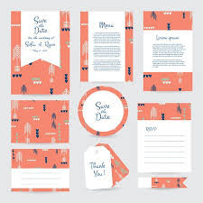 Wedding Template Interesting Vector Gentle Wedding Cards Template With Hipster Ethno Design