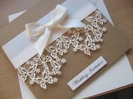 luxury vine themed wedding invitation laser cut erfly design with satin