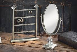 silver earring stand oval vanity mirror jewelry displays