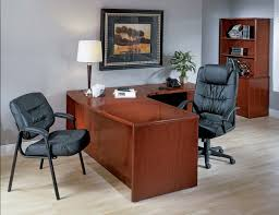 elegant home office furniture. Impressive Table Lamp Placed On L Shaped Office Desk Combined With Elegant Furniture At Contemporary Home B