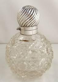 victorian cut glass silver top perfume bottle 5 london 1897