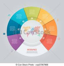 Vector Pie Chart Template For Graphs Charts Diagrams Business Circle Infographic Concept With 7 Options Parts Steps Processes With World Map