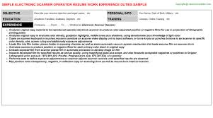 Resume Scanner Wonderful 6513 Electronic Scanner Operator Resume Resumes Templates