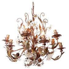 unique 1930s italian outdoor chandelier silver plated brass and crystal flowers for