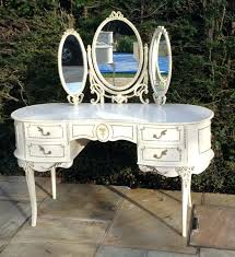 cream wooden dressing table set mirror stool shab french chic in french vanity table with regard