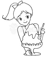かき氷少女モノクロイラスト No 812735無料イラストならイラストac