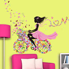 removable girl flower decals vinyl art mural wall  on wall art stickers for childrens rooms with removable girl flower decals vinyl art mural wall sticker kids girl