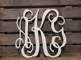 painted monogram extra large wall letters 30 cursive large wooden monogram letters for wall