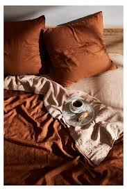 flax linen bedding set rust linen