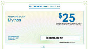 image is loading 25 gift certificate to mythos buffalo greek restaurant