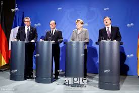 stock photo von left to right leif johansson chairman of the european round table francois hollande president of france angela merkel cdu