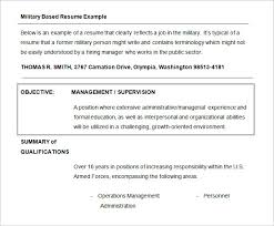 military resume objective military resume example