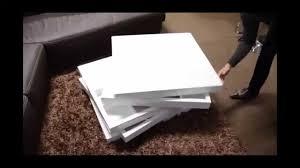 modern white swivel coffee table with storage seto
