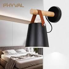 Led Wall Light Wood Wall Lamp Bed Bedside Light Night Lights Modern Nordic Lampshade Home Decor White Black Belt E27 85 265v