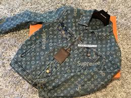 louis vuitton x supreme denim trucker jacket 54 medium fw17 box logo monogram lv