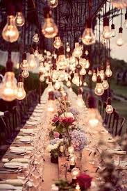 beautiful rustic wedding lights. A Beautiful Dinner Table Lit By Hanging Rustic Light Bulbs For Wedding Reception Lights E