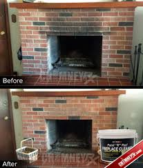 smoke stains on a fireplace before and after being cleaned with paint n l fireplace cleaner