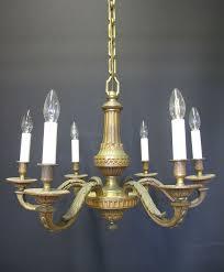 6 arm ormolu brass chandelier ca 1920