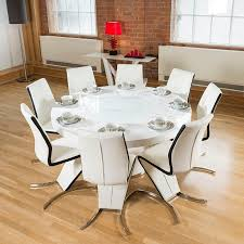 cute round 6 seater dining table on white gloss lazy susan 8 black z