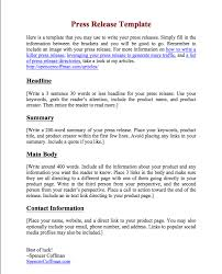 Free Press Release Template For Your Press Releases Press