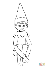 Christmas Elf On Shelf Coloring Page