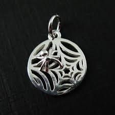 sterling silver web charm spider web charm spider charm pendant jewelry making charm findings 12mm 2 pcs