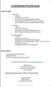 Media lowongan kerja pabrik no.1 indonesia. Loker Pabrik Kendal Terbaru Pt Sasakura Indonesia Kita Milenials