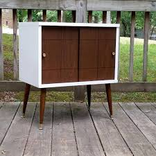 mid century record cabinet. Mid Century Record Cabinet // End Table Nightstand TV Stand