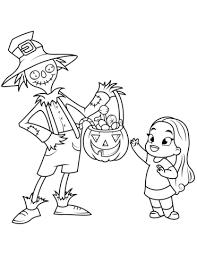 Disegno Di Spaventapasseri Regala Caramelle A Bambina Da Colorare