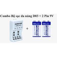 Combo Bộ Sạc Pin đa năng (Sạc cho pin tiểu, pin vuông) Tặng 2 pin sạc 9V  280mAh Doublepow - Pin và dụng cụ sạc pin