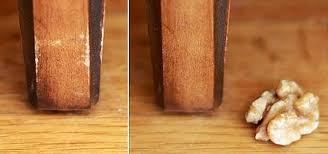 how to use nuts to repair small nicks scratches in your wood furniture