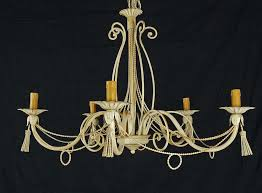 chandelier lamp 5 italian lights led iron forged by hand made art l41 country