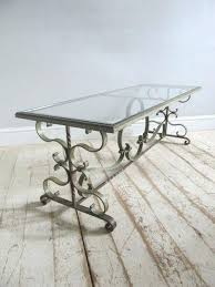 oval wrought iron coffee table with glass top french main
