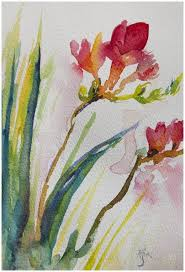 loose fluid freesias inspired by this fl painting course watercolor