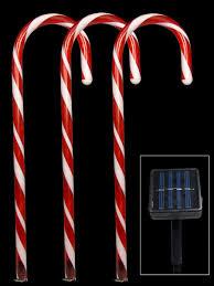 Christmas Candy Cane Garden Stake Lights Set Of 4 5 Red Led Candy Cane Solar Stake Light 54cm Christmas