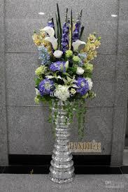 Fashion set glass large floor vase set flower modern simple european  artificial flowers