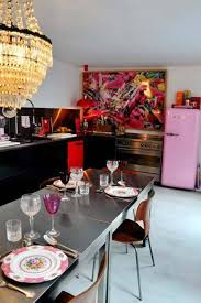 Eclectic Kitchen Eclectic Kitchen Style With Pink Fridge And Chandelier Over