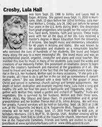 Obituary for Lula Crosby Hall, 1908-2010 (Aged 102) - Newspapers.com