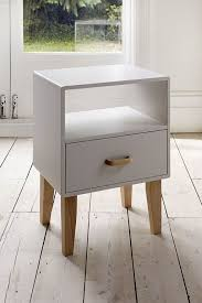 vintage simple white wood bedside table furniture design ideas with single long style drawers and wooden legs
