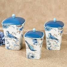 blue canister set bird kitchen canisters of three depression glass