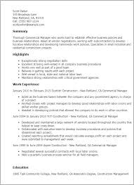 1 Commercial Manager Resume Templates Try Them Now Myperfectresume
