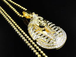 925 silver king tut tutankhamun real diamond pendant chain yellow gold finish 686907155885