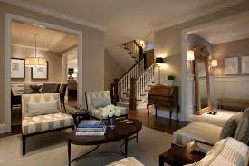 dining room example of a large classic living room design in chicago with beige walls