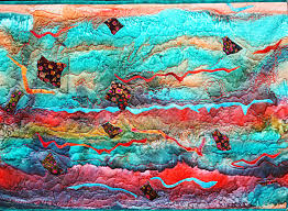 Dramatic silk art quilt abstract storm – Barbara Harms Fiber Art & The col ors are so dramatic is this new abstract silk art quilt. It reminds  me of storm clouds brewing. Adamdwight.com