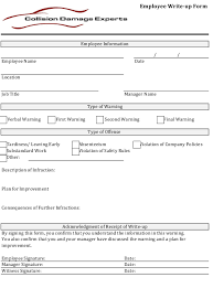 Form To Write Up An Employee Employee Write Up Form Collision Damage Experts Download