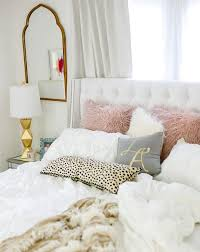 feminine cozy master bedroom with leopard white and blush home decorations  house decor