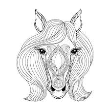horse face coloring page. Contemporary Horse Vector  Horse Coloring Page With Zentangled Horse Face Hand Drawn  Patterned Head Hairs Artistically Decorative For Adult Snti  For Face Page H