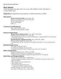 Sample Nursing Resumes Objectives For Resume New Grad Nursing R Sevte