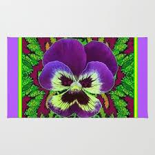 purple green garden art rug
