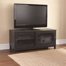 mainstays 55 tv stand with sliding glass doors black ebony ash intended for black